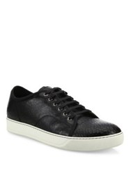 Lanvin Cracked Patent Leather Low Top Sneakers Black