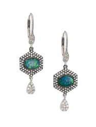 Meira T Opal Diamond And 14K White Gold Hexagon Drop Earrings White Gold Green
