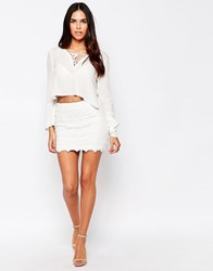 Goldie Pixie Skirt In Crochet Lace Ivory White