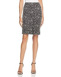 Aqua Embroidered Lace Pencil Skirt Black