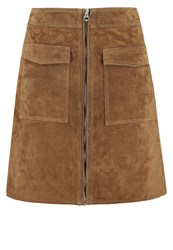 Pepe Jeans Keira Leather Skirt Tobacco Camel