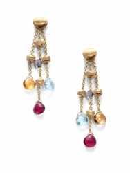 Marco Bicego Paradise Semi Precious Multi Stone And 18K Yellow Gold Three Strand Drop Earrings
