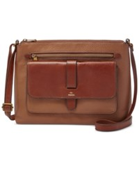 Fossil Kinley Glazed Pebbled Leather Crossbody Brown