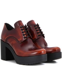 Prada Leather Derby Pumps Brown