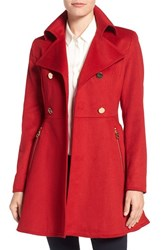 Laundry By Shelli Segal Women's Double Breasted Fit And Flare Coat Red Dahlia