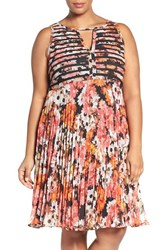 Adrianna Papell Plus Size Women's Floral Print Banded Bodice Fit And Flare Dress