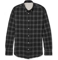 Officine Generale Button Down Collar Plaid Brushed Cotton Blend Shirt Gray