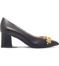 Moschino Lettering Leather Court Shoes Black