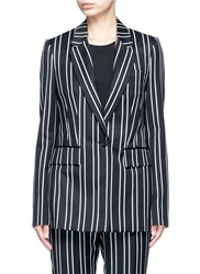 Givenchy Stripe Wool Suiting Blazer Black Multi Colour