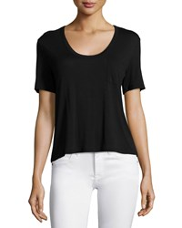 T By Alexander Wang Classic Cropped Tee W Pocket Black