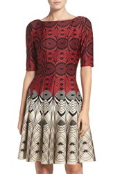 Gabby Skye Women's Geometric Scuba Fit And Flare Dress