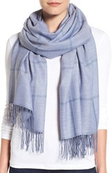 Nordstrom Women's Plaid Cashmere And Wool Scarf Blue Combo