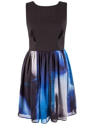 Almari V Back Silk Skirt Dress Blue