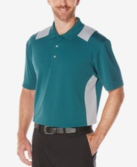 Pga Tour Men's Colorblocked Airflux Polo Shirt Atlantic Teal
