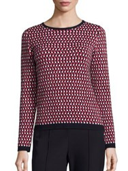 Escada Check Jacquard Sweater Navy