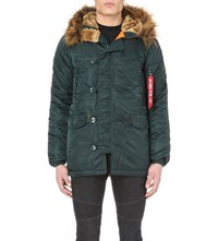 Alpha Faux Fur Lined Shell Jacket Dark Petrol