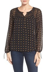 Lucky Brand Women's Metallic Dot Print Top