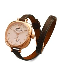 The Gomelsky Rose Golden Watch With Double Wrap Leather Strap Gray Shinola