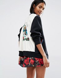 Anna Sui Baseball Jacket With Signature Print Black
