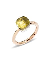 Pomellato Nudo Mini Ring With Faceted Lemon Quartz In 18K Rose And White Gold Yellow Rose