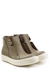 Rick Owens Leather Island Dunk Sneakers Grey