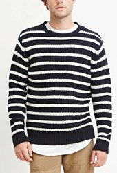 Forever 21 Striped Cotton Blend Sweater Navy White