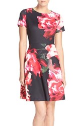 Women's Donna Ricco Floral Scuba Fit And Flare Dress
