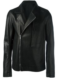 Rick Owens Funnel Neck Biker Jacket Black
