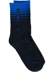 Diesel Logo Socks With A Ribbed Detail Blue