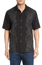 Tommy Bahama Men's Big And Tall 'Verdara Vines' Original Fit Embroidered Silk And Cotton Camp Shirt Black