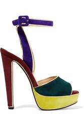 Christian Louboutin Louloudance Color Block Suede Sandals Royal Blue