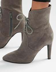 London Rebel Lace Up Point Heeled Ankle Boots Grey Mf