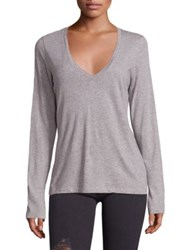 Frame Cotton Deep V Neck Tee Grey