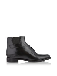 Alexander Wang Flat Leather Lace Up Boots Black Black