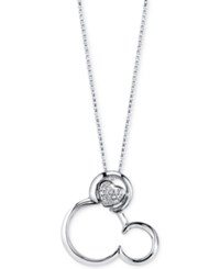 Disney Diamond Accent Mickey Mouse Pendant Necklace In Sterling Silver