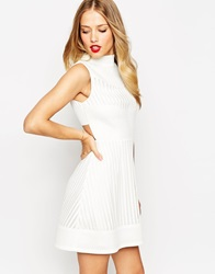 Asos Skater Dress In Mesh With High Neck And Cut Out Back White