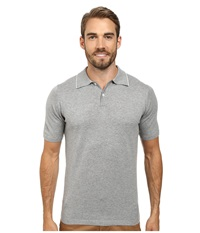 Agave Denim Baja Malibu Short Sleeve Polo Fine Gauge Heather Gray Men's Short Sleeve Pullover