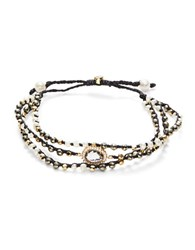Tai Pyrite And Mother Of Pearl Beaded Wrap Bracelet Black