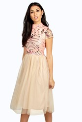 Boohoo Ely Embellished Top Tutu Skirt Skater Dress Pink