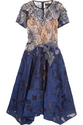 Biyan Lene Embellished Tulle And Fil Coupe Organza Dress Navy