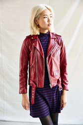 Urban Renewal Pelechecoco Leather Biker Jacket Red