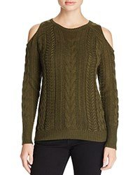 Aqua Cable Knit Cold Shoulder Sweater Army Green