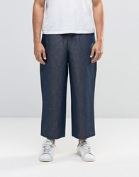 Asos Wide Leg Trousers In Chambray Navy
