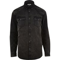 River Island Mens Black Washed Western Denim Shirt
