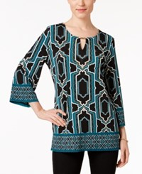 Jm Collection Embellished Keyhole Top Only At Macy's Teal Roman Leaves Print