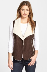Caslon Faux Shearling Vest Brown Toffee