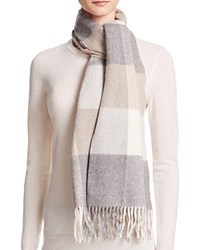 Bloomingdale's C By Cashmere Color Block Scarf Gray Ivory Oatmeal