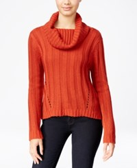 Hooked Up By Iot It's Our Time Juniors' Rib Knit Cowl Neck Sweater Fall Rust