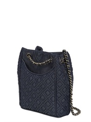 Tory Burch Flaming Quilted Cotton Denim Backpack