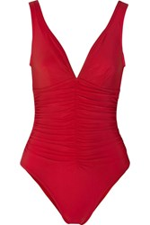 Karla Colletto Ruched Swimsuit Red